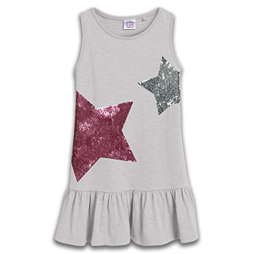 VIKITA Toddler Kid Girls Summer Casual Sequin Stars Sleeveless Cotton Grey Dress SH0777 7T -