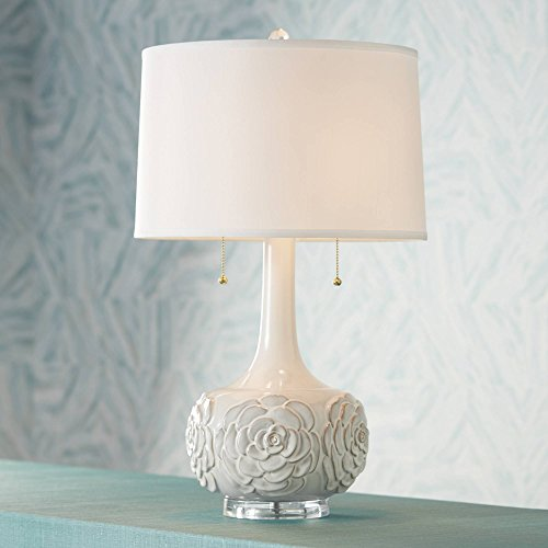 Natalia Cottage Table Lamp Ceramic White Floral Vase Drum Shade for Living Room Family Bedroom Bedside Nightstand - Possini Euro Design ()