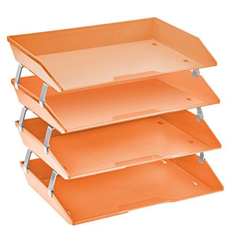 Acrimet Facility 4 Tier Letter Tray Plastic Desktop File Organizer (Orange Citrus Color) ()