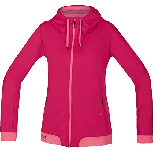 GORE BIKE WEAR Women's Warm Soft Shell Hooded Mountainbike Jacket, GORE WINDSTOPPER, POWER-TRAIL LADY WS SO Hoody, Size 38, Jazzy Pink/Giro Pink, SWHFLO