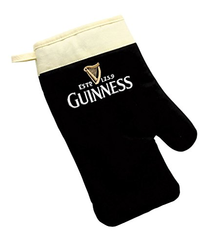 Guinness Label Oven Glove - Cotton Black/Cream Embroidered Kitchen Grill Mitt