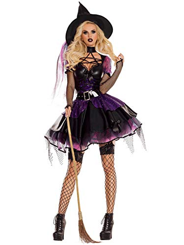 Party King Women's Amethyst Pentagram Witch Costume, Black/Purple,