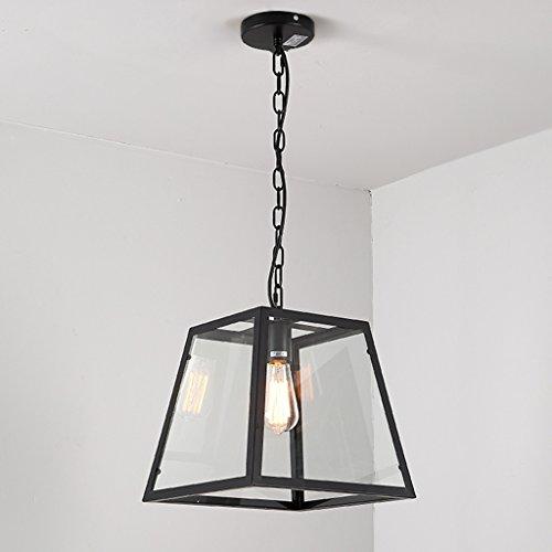 Retro Iron Glass Box Restaurant Chandelier Rectangular Creative Living Room Lights Coffee Shop Personality Lamp ( Size : A ) (Rectangular Lantern Chandelier)