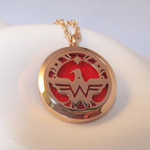 Wonder Woman Aromatherapy Power Necklace, USA Eagle Freedom Pendant, Chenier Design Rose Gold Gift Jewelry