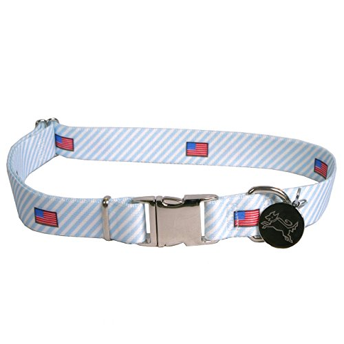 Dawg-Seersucker-Blue-with-American-Flags-Dog-Collar-with-ID-Tag-Extra-Small-58-Neck-8-12-Made-in-the-USA-by-Yellow-Dog-Design