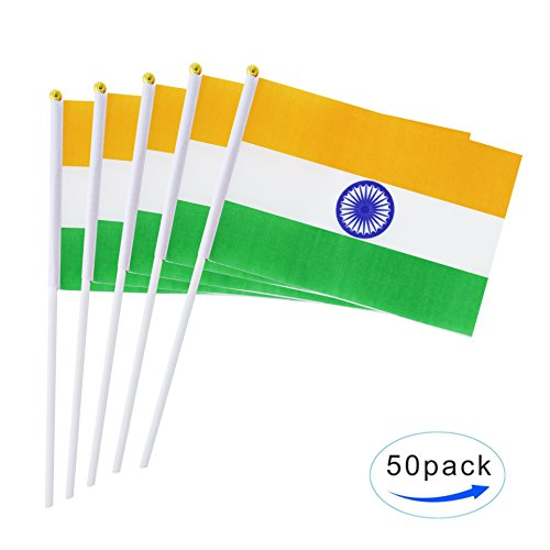 AuTop 50 Pack Small Mini India Indian Stick Flag,Hand Held I