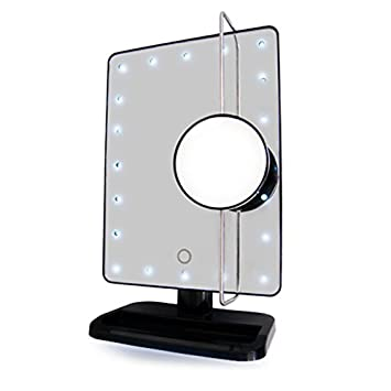 vanity mirror. Rucci Vanity Mirror with L E D  light and movable round insert mirror 10X magnification 8 inches Amazon com