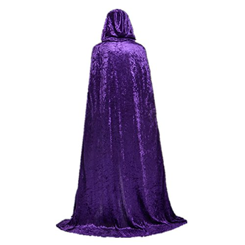 Unisex Death Hooded Cape 59 Inch Full Length Cloak Halloween Velvet Cape Masquerade Red T006PR - Purple Velvet Dress Costume