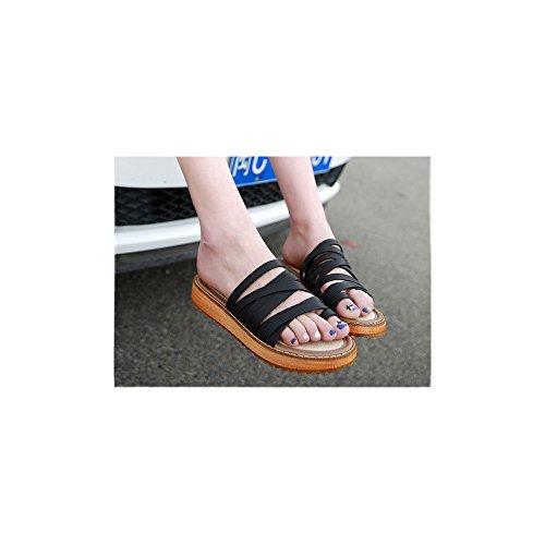 Dulce Abalorios Pie Negro De Zapatos Bohemia Mujer Calzado Del Playa La Sandalias Clip w6Yq40xv