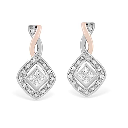 - 925 Sterling Silver & 10K Rose Gold 1/4 Carat Round and Princess-Cut (H-I Color, I2 Clarity) Natural Diamond Earrings for Women