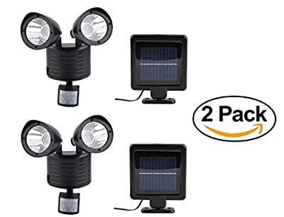 22 SMD LED Outdoor Security Floodlight with Light Sensor and Solar Charger, Motion Activated, Black ( Pack of 2 )