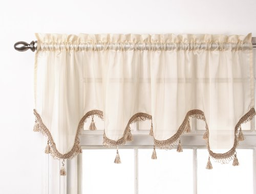 - Stylemaster Lucky Striped Scalloped Valance, 57-Inch by 17-Inch, Ivory