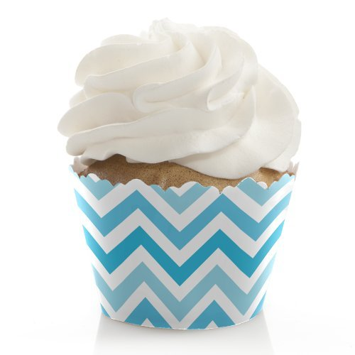 chevron blue cupcake liners - 4