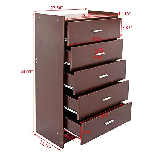 Storage Organization Multiple Finish Simply 5-Drawer Chest Espresso 5 Drawer Chest Drawer Cabinet Bedroom Furniture by HopeHope