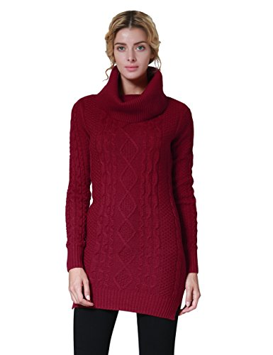 Ninovino Womens Cowl Neck Slit Side Cable Knit Pullover Long Sweater