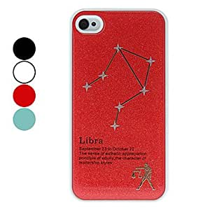 Frosted Libra Constellation Pattern Hard Case for iPhone 4/4S (Assorted Colors) --- COLOR:Red
