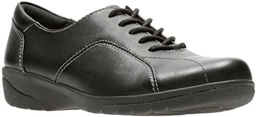 CLARKS Women's Cheyn Ava Oxford, Black Leather, 8.5 M US