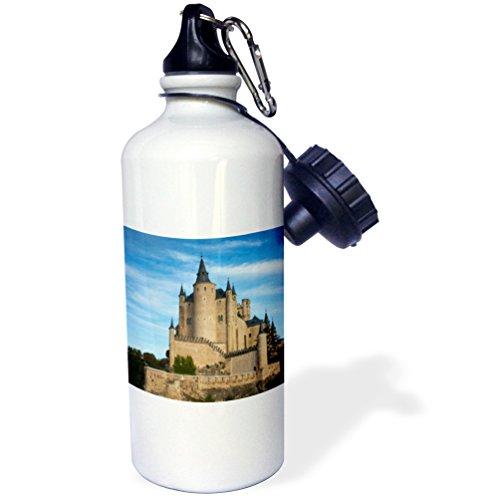 3dRose wb_139215_1 ''Spain, Castilla y Leon, Segovia, Alcazar, Castle EU27 WBI0268 Walter Bibikow'' Sports Water Bottle, 21 oz, White by 3dRose