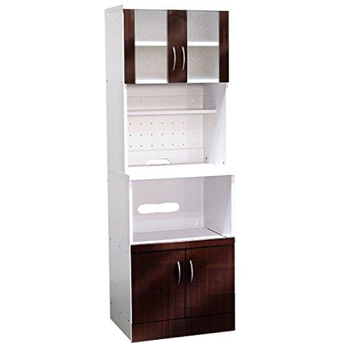 幅60cm 鏡面仕上げ レンジ台食器棚  (ブラウン) B01MZF4HJJ