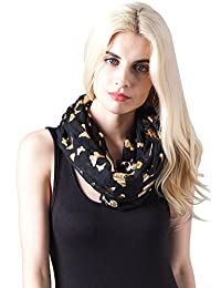 Missshorthair Women's Bright Light Weight Foil Butterfly Pattern Soft Infinity Scarf