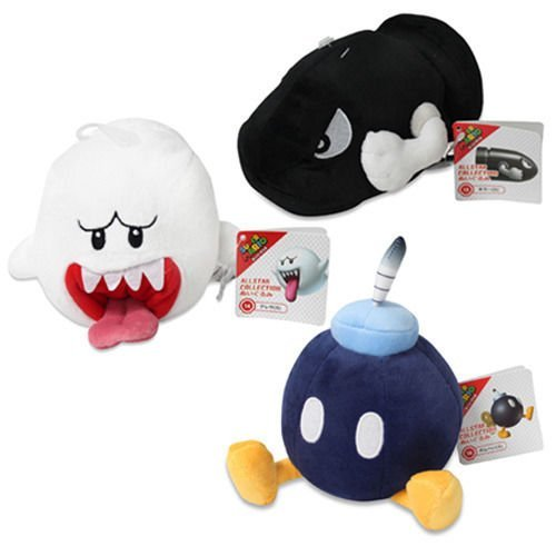 Bullet Bill, Ghost Boo & Bob-omb Plush (Set of 3) Sanei Super Mario All Star Collection ()