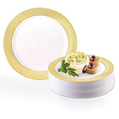 Disposable Elegant Plastic Dessert Plate Set - Heavy Duty Round White with Gold Salad Plates - Reusable Cake Party Plates For Wedding, Christmas, Thanksgiving, Birthday & Other Occasions - 120 Plates