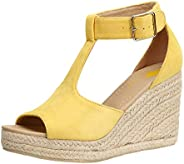 BIGTREE Wedge-Sandals for Women Peep-Toe Espadrilles with Ankle-Straps