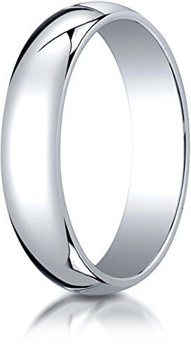 Benchmark 10K White Gold 5mm Slightly Domed Traditional Oval Wedding Band Ring, Size 9.25
