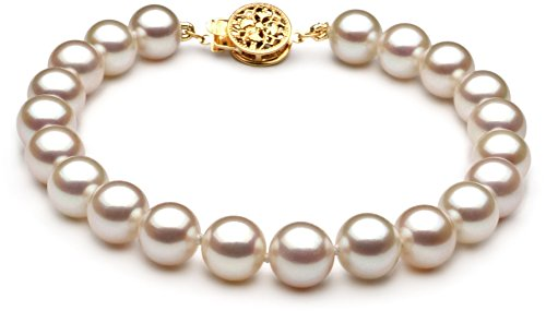 PearlsOnly - White 7-8mm Freshwater 14K Yellow Gold Cultured Pearl Bracelet-7 in length