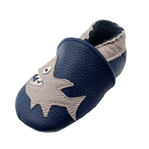 iEvolve Baby Shoes Baby Toddler Soft Sole Prewalker Baby First Walking Shoes Crib Shoes Baby Moccasins(Navyblue Shark, 6-12 Months)