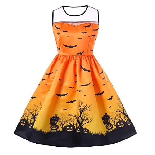 Big Promotions Women's Halloween Dress ODGear Vintage Retro Lace Sleeveless Mesh Pumpkin Printed Swing Party Dress