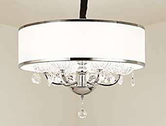 Modern Crystal Pendant Light in Cylinder Shade, Drum Style Home 4 Ceiling Light Fixture Flush Mount, Pendant Light Chandeliers Lighting for Bedroom, Living Room Rain Drop Decoration (3)