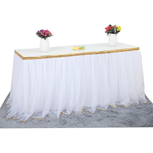 White And Gold Table Decorations (6 ft White Table Skirt With Gold Sequin Tulle Table Skirt for Bridal Shower Wedding Baby Shower Birthday)