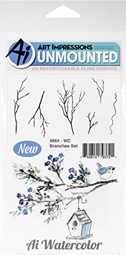 Art Impressions WC4964 Watercolor Cling Rubber Stamps, Branches ()