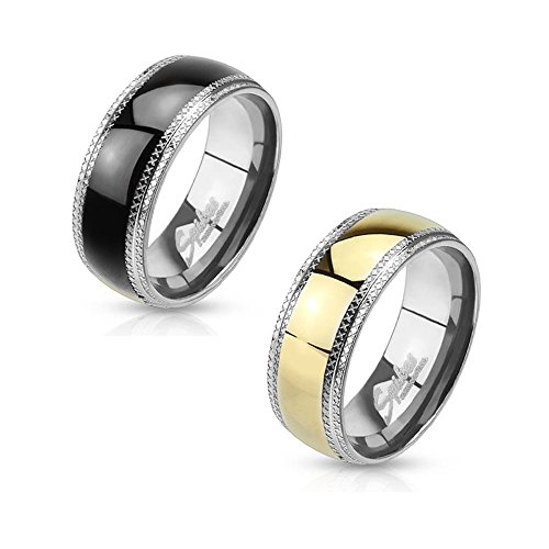 2 Pcs Stainless Steel with Etched Edges and Black IP Gold IP Center Band Ring Set STR-0071 STR-0077; Choose 1 Size (9)