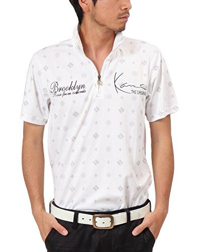 [カールカナイ ゴルフ] Karl Kani GOLF ポロシャツ ドライ モノグラム ハーフZIP 総柄 シャツ 182KG1205 ホワイト Mサイズ