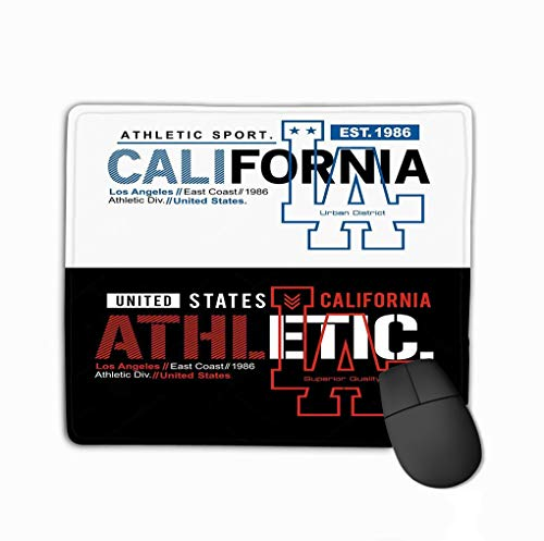 Mousepad Non Slip Rubber Personalized Unique Gaming Mouse Pad 11.81 X 9.84 Inch Typography Los Angeles California Athletics Graphic Design Background White Black Image (Best Graphic Design Backgrounds)