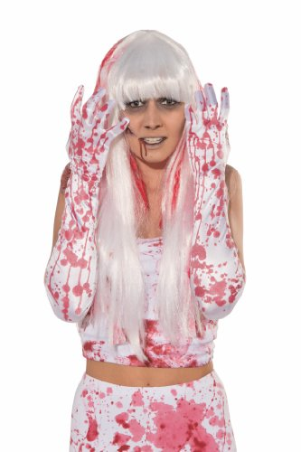Forum Novelties Women's Novelty Bloody Gloves, White/Red, One (Zombie Adult Gloves)