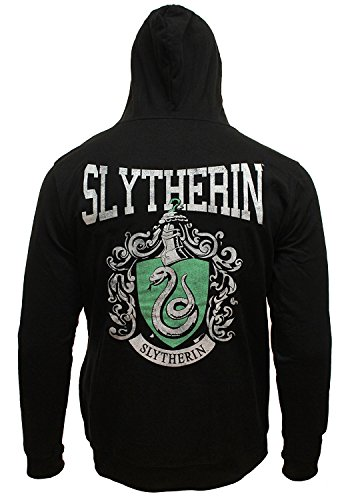 Harry Potter Men's Distressed Slytherin House Crest Full Zip Hoodie Sweatshirt (Medium)