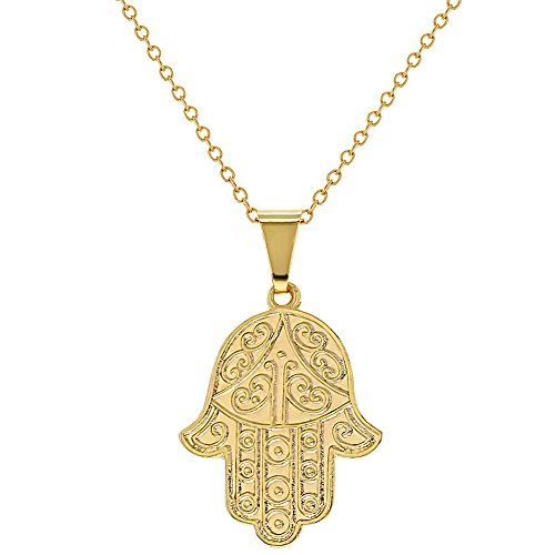 """18k Gold Plated Hamsa Hand Pendant Necklace Judaica Protection 19"""""""
