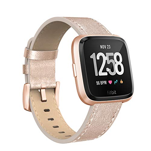 (SWEES Leather Bands Compatible Fitbit Versa, Genuine Leather Dressy Band Strap Wristband Replacement Women Men Small & Large, Rose Gold, Black, Brown, Grey, White, Tan)