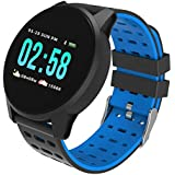 FINME 2018 Bluetooth Smart Watch Phone Mate Full Round Screen SIM for Android for iOS (Blue)
