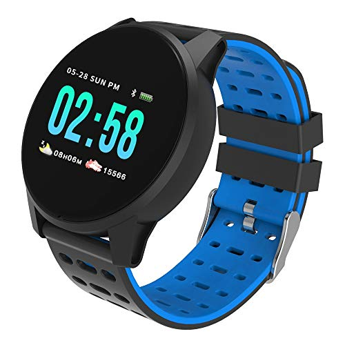 (OutTop(TM) KY108 Android Smart Watch for Women Men,Bluetooth Heart Rate Oxygen Blood Pressure Touchscreen Smart Watches Sports Fitness Tracke Compatible Samsung iOS Phones (Blue))