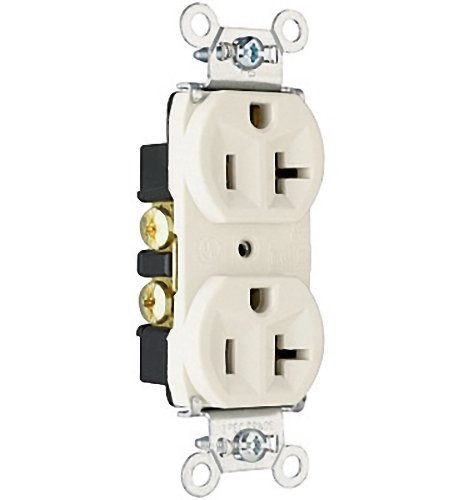 Pass and Seymour White INDUSTRIAL Grade NARROW Receptacle Duplex Outlet 20A 125V (20r Duplex Outlets)