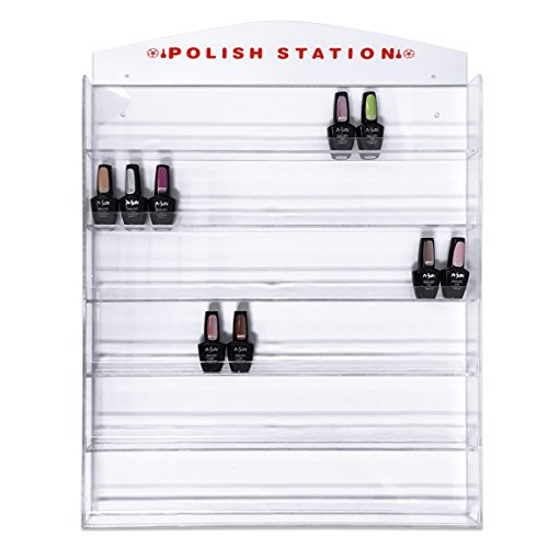 Famous FUJI Acrylic Clear Nail Polish Wall Mounted Organizer Display Metal Rack - Hold up to 126 bottles (Famous USA Fuji Brand) Perfect for Birthday Christmas Valentine Gift