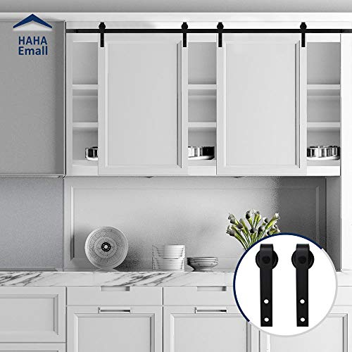 Hahaemall Vintage Decorative 5FT Sliding Mini Barn Door Hardware Kit for Cabinets and TV Stand Steel Track with Best Heavy Hangers ( J-Shape Double Door Kit) (Stand Tv Vintage)