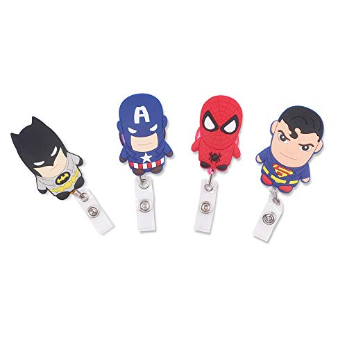 Finex Set of 4 Superheroes Captain America Spiderman Batman V Superman Badge ID Clip Reel Retractable Holder Office Work Nurse Name Badge Tag Clip On Card Holders Cute - 30 inch Cord Extension
