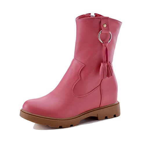 runde Low Stiefel Allhqfashion PU Zehe Reißverschluss geschlossene Heels Frauen Top Pink Low HTTE8A6