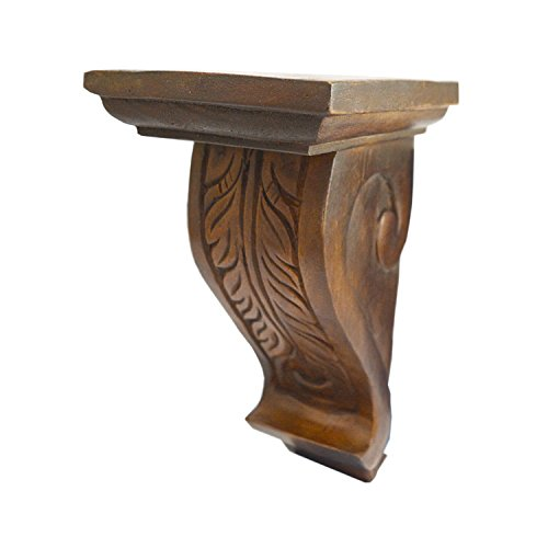 CinMin Handcarved Corbel Wood Wall Bracket/Floating Shelf (Siena Brown) (Wall Shelf Carved)