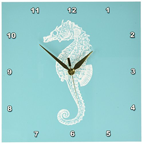 3dRose dpp_164965_1 Teal Blue Seahorse Print Sea Horse Ocean Marine Beach Aquarium Aquatic Wall Clock, 10 x 10 Review